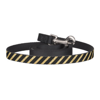 Gold Glitter and Black Diagonal Stripes Pattern Pet Lead