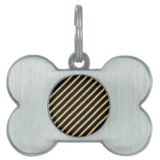 Gold Glitter and Black Diagonal Stripes Pattern Pet Name Tag