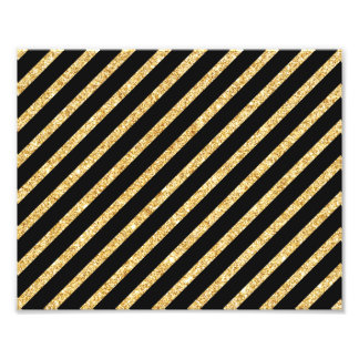 Gold Glitter and Black Diagonal Stripes Pattern Photo Print