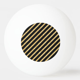 Gold Glitter and Black Diagonal Stripes Pattern Ping Pong Ball