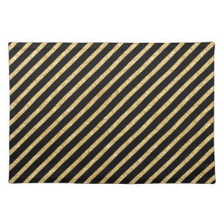 Gold Glitter and Black Diagonal Stripes Pattern Placemat