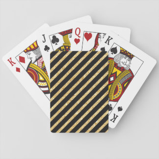 Gold Glitter and Black Diagonal Stripes Pattern Playing Cards
