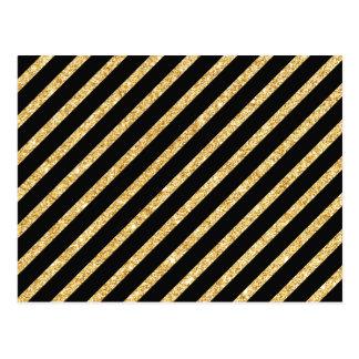 Gold Glitter and Black Diagonal Stripes Pattern Postcard
