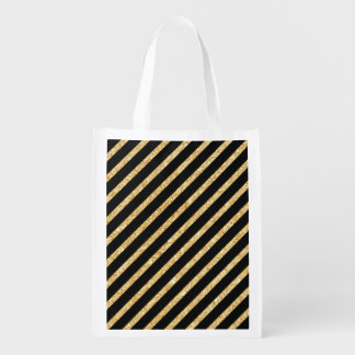 Gold Glitter and Black Diagonal Stripes Pattern Reusable Grocery Bags