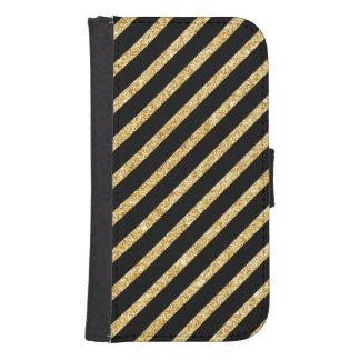 Gold Glitter and Black Diagonal Stripes Pattern Samsung S4 Wallet Case