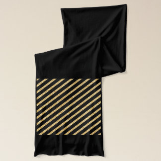 Gold Glitter and Black Diagonal Stripes Pattern Scarf