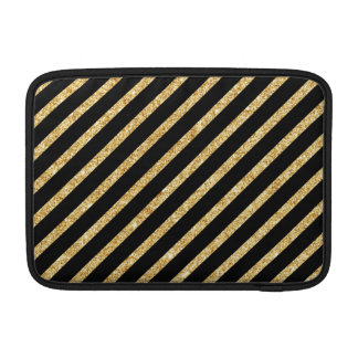 Gold Glitter and Black Diagonal Stripes Pattern Sleeves For MacBook Air