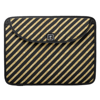 Gold Glitter and Black Diagonal Stripes Pattern Sleeves For MacBook Pro