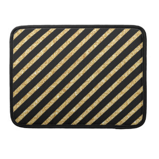 Gold Glitter and Black Diagonal Stripes Pattern Sleeves For MacBooks