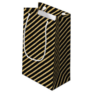 Gold Glitter and Black Diagonal Stripes Pattern Small Gift Bag