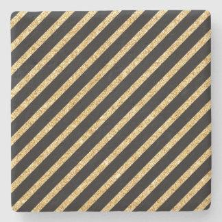 Gold Glitter and Black Diagonal Stripes Pattern Stone Coaster