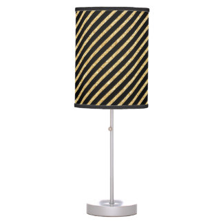 Gold Glitter and Black Diagonal Stripes Pattern Table Lamp
