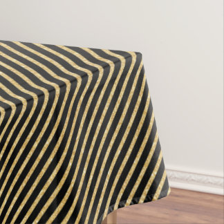 Gold Glitter and Black Diagonal Stripes Pattern Tablecloth
