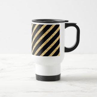 Gold Glitter and Black Diagonal Stripes Pattern Travel Mug