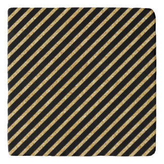 Gold Glitter and Black Diagonal Stripes Pattern Trivet