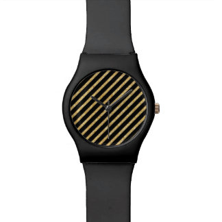 Gold Glitter and Black Diagonal Stripes Pattern Watch