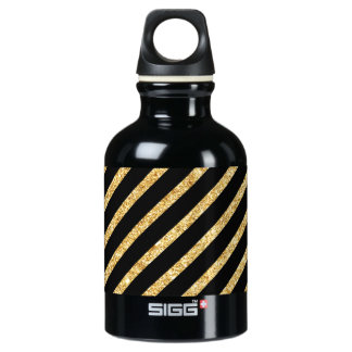 Gold Glitter and Black Diagonal Stripes Pattern Water Bottle