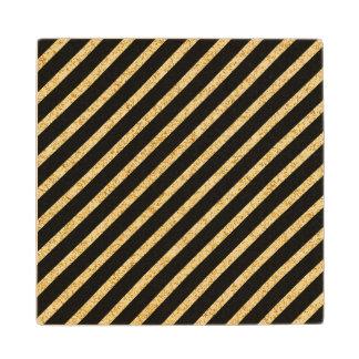 Gold Glitter and Black Diagonal Stripes Pattern Wood Coaster