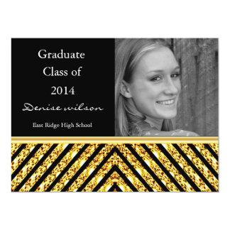 Gold Glitter and Black Graduation Photo Invitation