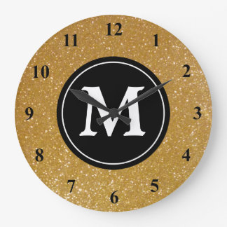 Gold glitter and black monogram wall clock