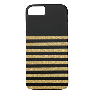 Gold Glitter and Black Stripe iPhone 7 Case