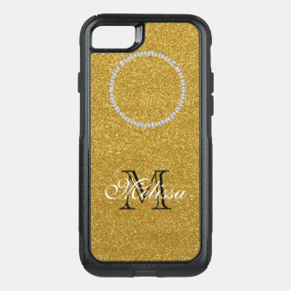 Gold Glitter and Diamonds, Your Name and Initial OtterBox Commuter iPhone 8/7 Case
