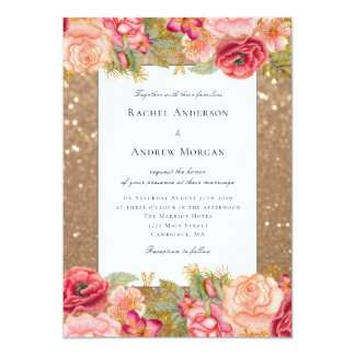 Gold glitter and floral wedding invitation