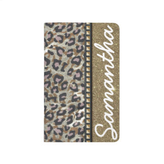 Gold Glitter and Leopard Monogram Journal