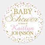Gold Glitter and Pink Sprinkle Baby Shower Label Round Sticker