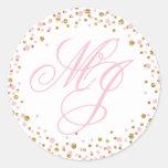 Gold Glitter and Pink Sprinkle Monogram Label Round Sticker