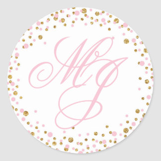 Gold Glitter and Pink Sprinkle Monogram Label Round Sticker