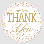 Gold Glitter and Pink Sprinkle Thank You Label Round Sticker