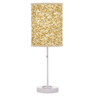 Gold Glitter And Sparkles Pattern Table Lamp