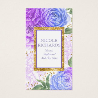 Gold Glitter and Watercolor Blue and Purple Floral Business Card