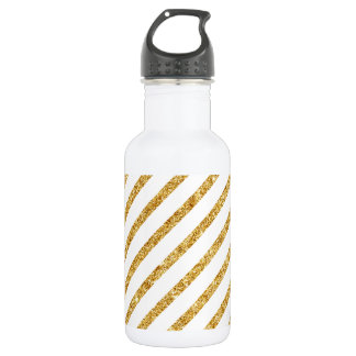 Gold Glitter and White Diagonal Stripes Pattern 532 Ml Water Bottle