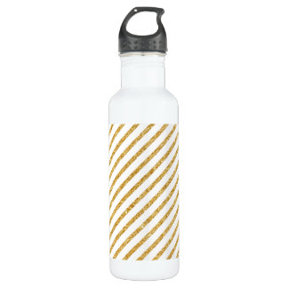 Gold Glitter and White Diagonal Stripes Pattern 710 Ml Water Bottle