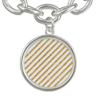 Gold Glitter and White Diagonal Stripes Pattern Bracelet