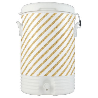 Gold Glitter and White Diagonal Stripes Pattern Cooler