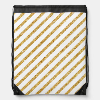 Gold Glitter and White Diagonal Stripes Pattern Drawstring Bag