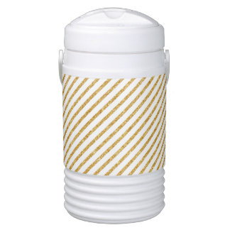 Gold Glitter and White Diagonal Stripes Pattern Drinks Cooler