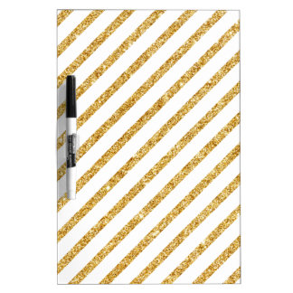 Gold Glitter and White Diagonal Stripes Pattern Dry Erase Board