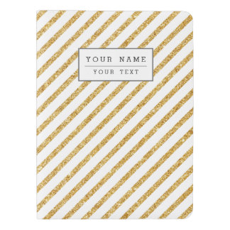 Gold Glitter and White Diagonal Stripes Pattern Extra Large Moleskine Notebook