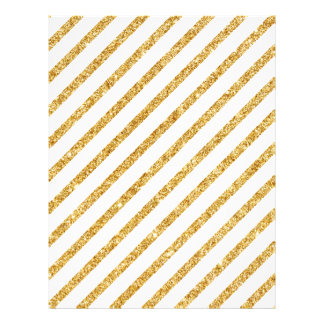 Gold Glitter and White Diagonal Stripes Pattern Flyer