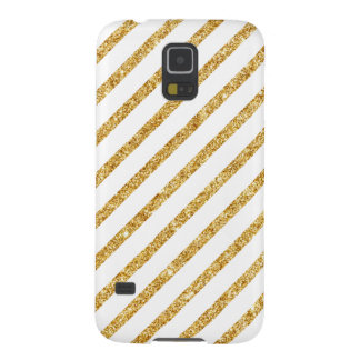 Gold Glitter and White Diagonal Stripes Pattern Galaxy S5 Case