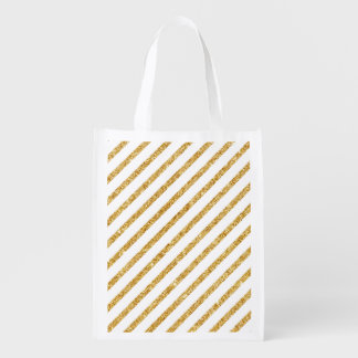 Gold Glitter and White Diagonal Stripes Pattern Grocery Bag