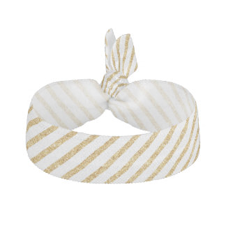 Gold Glitter and White Diagonal Stripes Pattern Hair Tie
