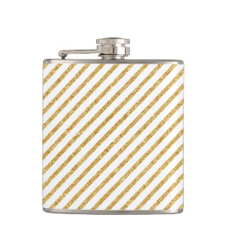 Gold Glitter and White Diagonal Stripes Pattern Hip Flask