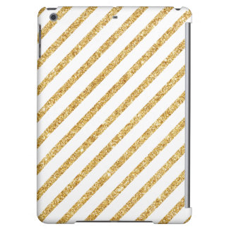 Gold Glitter and White Diagonal Stripes Pattern iPad Air Case