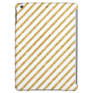 Gold Glitter and White Diagonal Stripes Pattern iPad Air Cover
