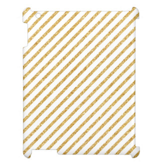 Gold Glitter and White Diagonal Stripes Pattern iPad Case
